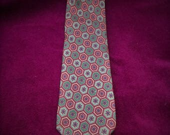 vintage tie/pure silk tie/honeycomb texture/floral vintage tie/bordeaux/vintage italian tie