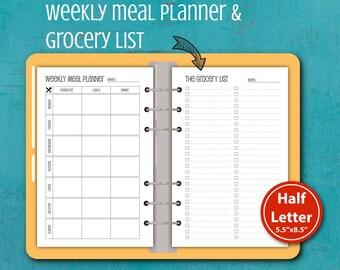 Weekly Meal Planner Printable,Planner printable, Menu planning, A5 inserts #half010