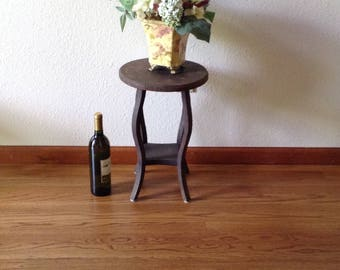 Antique Plant Stand, Wine Table, Primitive Stand, Mission Style, Oak Table