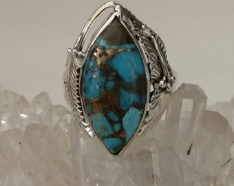 Blue Copper Turquoise Ring Size 8