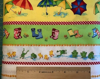 Umbrellas, Frogs, Rubber Boots on White and Yellow Background, Puddle Jumpers, Red Rooster, 100% Cotton