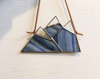"Blue Hues • 2.75 x 5"" Stained Glass Small Snowcapped Mountain Range • Suncatcher • Nature •"
