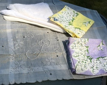 Vintage Hankies Madeira Embroidered and Floral Lot of 6 Hankie Initial P