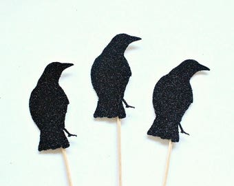 12 black glitter crow cupcake toppers halloween cupcake toppers halloween party halloween decorations halloween - Halloween Crow Decorations