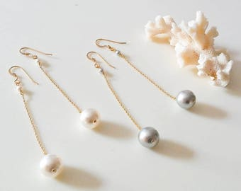 14k gold fill chain and swarovski pearl earrings