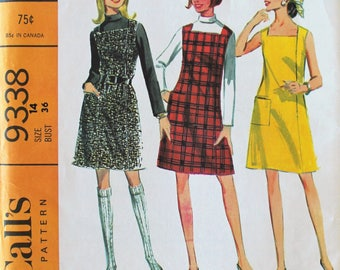 Uncut 1960s Pattern - Vintage Dress or Jumper and Shirt Sewing Pattern - McCall's 9338 - Bust 36