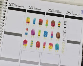 Popsicle Stickers, Popsicle Planner Stickers, Little Popsicles, Ice Cream Stickers, Ice Cream Planner Stickers, Kawaii Stickers