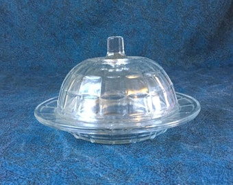 Vintage Hazel Atlas Round Glass Butter Dish with Domed Lid, Depression Glass Colonial Block Butter Dish