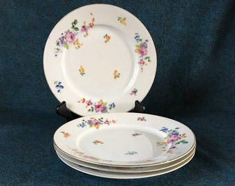 Vintage Union T Czechoslovakian Porcelain Floral Salad Plates, Set of 4, Union Porcelain