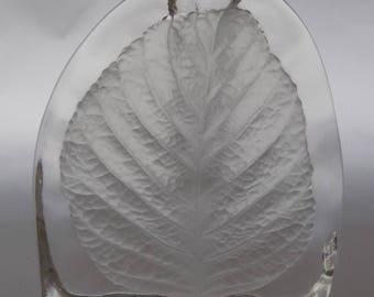 Vintage Frosted Glass Leaf Stem / bud Vase