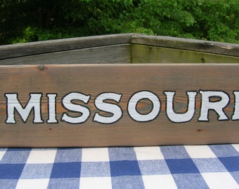 Missouri Wood Sign - Handpainted, State Sign, Wall Hanging, Family Room, Den, Sports Sign