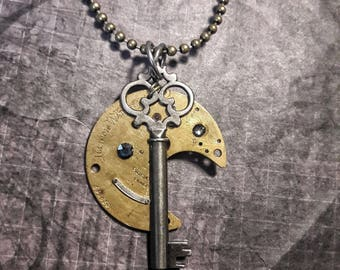 Antique1887  Watchplate Steampunk Necklace, Steampunk Skeleton Key Necklace,   Steampunk Jewelry  Cosplay Jewelry Victorian Steampunk