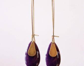 Dark purple enameled sequin drop earrings