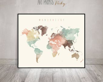 Wander World Map Watercolor Print Pastel World Map Poster Travel Map