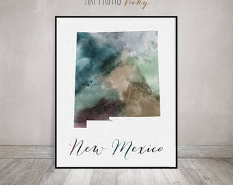 New Mexico state map, Watercolor map, Wall art, New Mexico map poster, New Mexico state watercolor, fine art watercolor print ArtPrintsVicky
