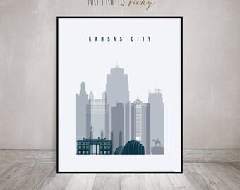 Kansas City print, Poster, Wall art, Kansas cityscape, Travel, skyline, City poster, Typography art, Home Decor, Gift, ArtPrintsVicky