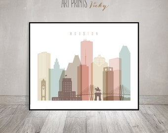 Houston Skyline Art Print Pastel by ArtPrintsVicky.com