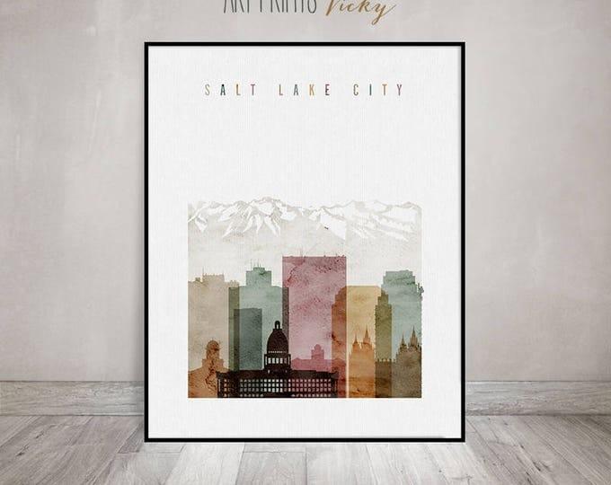 Salt Lake City art poster, Salt Lake City print, Salt Lake City skyline, watercolor wall art, Travel gift, Utah, Home Decor ArtPrintsVicky
