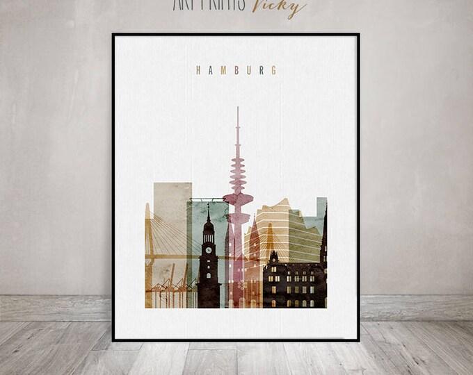 Hamburg art print poster skyline,  Hamburg Wall art, Hamburg watercolour poster, city poster, travel decor, Gift, home decor  ArtPrintsVicky