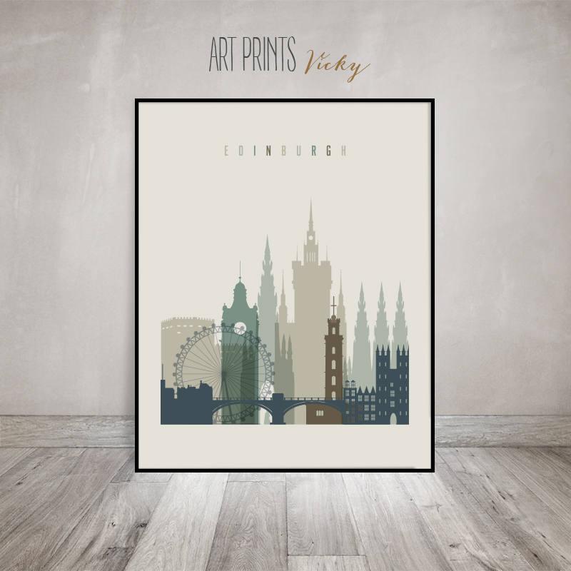 Edinburgh Skyline, Print, Poster, Cityscape Wall Art, Scotland