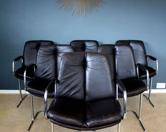 SOLD: 6 Stunning Chrome & Leather Pieff Mid Century Dining Chairs Retro Vintage 50s 60s 70s