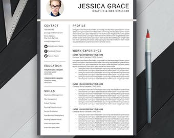 Professional Resume Template, Cover Letter, CV Template, US Letter, A4, Word, Simple, Modern, Creative Resume, Instant Download, 'JESSICA'