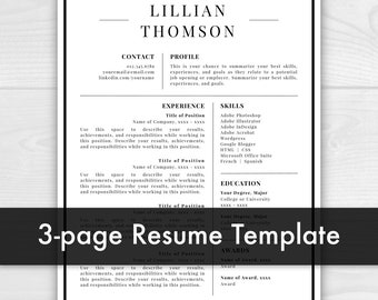 3 Page Professional Resume Template For Word U0026 Pages | CV Template | Resume  Template |  Pages Resume Template