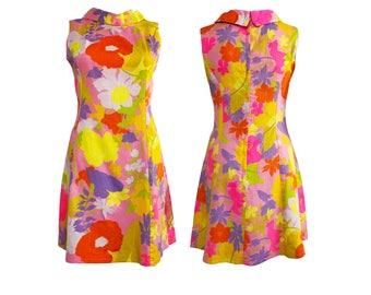 Vintage 1960s Floral Print Mini Dress With Collar Neon Day Glow Mod Tropical Design