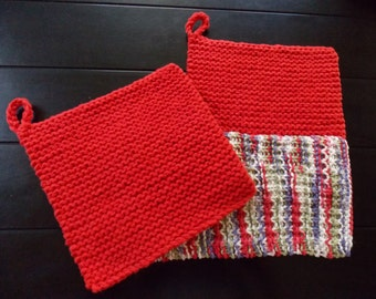 Hand Knitted Cotton Pot Holder and Dish Cloth Set, Red Pot Holder and Dish Cloth Set