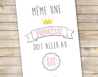 """Poster A3 for child's room - """"Princess"""""""