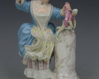 """Meissen Figurine E95 """"Girl Spanking Doll"""""""