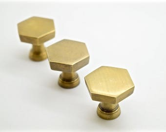 hexagonal brass drawer knob. Brass pulls. hexagon pulls .kitchen pulls handles  industrial cupboard pull handle. drawer handles.