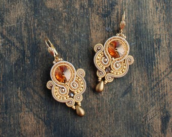 Soutache dangle earrings, Gold and caramel earrings with Swarovski, Beaded crystal earrings, Soutache jewelry, Embroidery, FREE SHIPPING