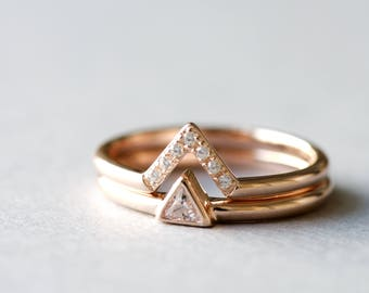 14k Rose Gold Ring, Triangle Ring, Dainty Ring, Minimalist Ring, Trillion Ring, Rose and Choc Ring