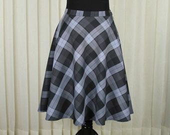 Black-Gray Check Skirt • Knee Length Skirts • Half Circle • Skirt with pockets