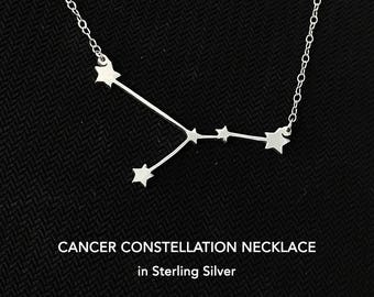 Cancer Constellation Necklace, Cancer Zodiac Jewelry, Zodiac Necklace Cancer