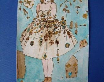 "Pastel watercolor ""The kite girl"""