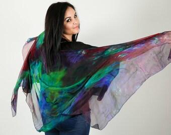 "Big shawl chiffon handpainted ""My dark side"""