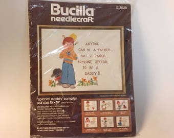 Crewel Embroidery Kit, Vintage Bucilla Needlecraft Kit No. 3528, Special Daddy Sampler, New Dad Gift,Needlework Craft Supply