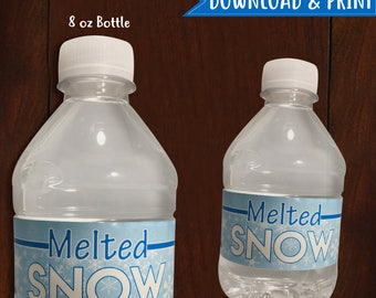 PRINTABLE Winter Melted Snow 8 oz Water Bottle Label