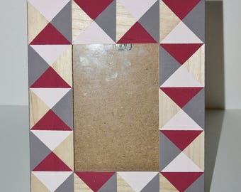 Hand painted geometric photo frame
