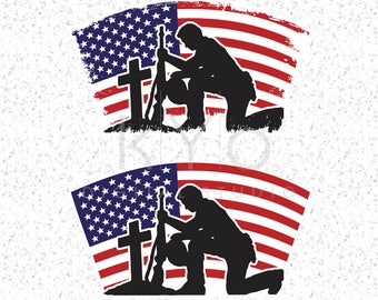 Fallen Soldier Svg American flag svg Veteran Day svg US Flag Military svg files for Cricut Silhouette Distressed svg Grunge svg