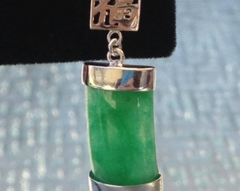 Happiness GoodLuck Green Jade earrings