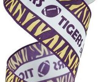 RIBBON - Wired Ribbon - LSU Ribbon - Football Ribbon - Floral Ribbon - Wreath - RG1757CN
