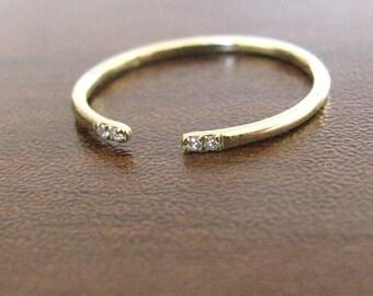 thin wedding ring round diamond open ring diamond simple wedding band diamond unique - Simple Wedding Ring