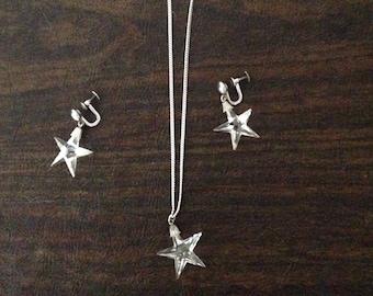 Sterling and Glass Stars Vintage Necklace Set