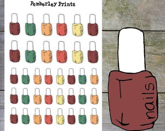 Fall/Autumn Coloured Nail Polish Stickers // Hand Drawn Nail Varnish Stickers in a Variety of Autumn Colours // HD2