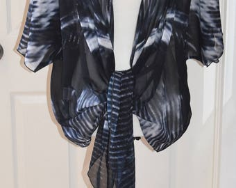 Boho Style Clothing | Wearable Art | Festival Clothes | Black Tops | Draped Chiffon Cardigan | Travel Wear | Feathers | For Her