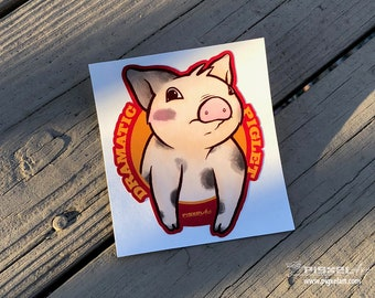 "Vinyl Decal Cute Little Pig ""Dramatic Piglet"" Piggy Die Cut Art Indoor/Outdoor Sukoshi Buta Mini Pig Pigxel Art"