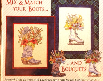 Bootiful Bouquets by Claudia's Creations:  western boots cd for machine embroiderry.